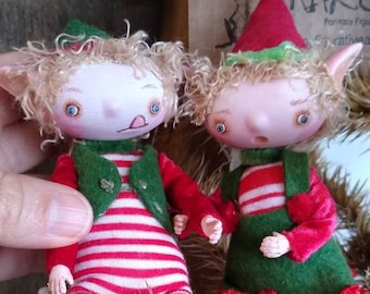 """Miniature Christmas elves """"Adelita & Diego"""" made to order elf posable Bjd handmade buy one or the couple."""