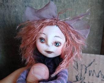 "Miniature art doll ""Lalita"" flesh tone or GOTH options posable made to order figurine handmade"