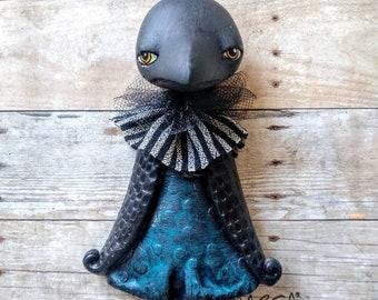 Crow girl charm wall art cartoon anime raven girl clack bird wall decor embellishment quirky oddity ornament