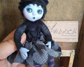 "Miniature Goth cat girl art doll ""Mimi""  posable made to order figurine handmade"