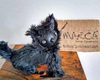 "Black cat posable miniature perfect companion for Adelita, lalila, Mimi art dolls.  Plush Halloween prop can be customized ""Otto"" style"