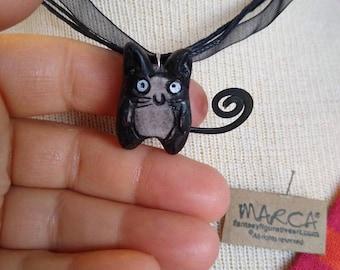 Cat anime mini necklace pendant handpainted resin cast sculpture cute accessory ornament cosplay
