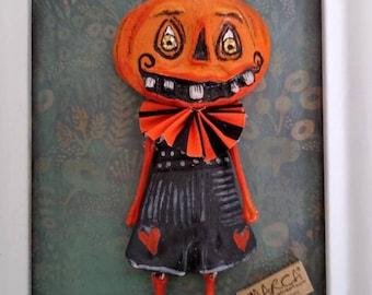 PUMPKIN charm Halloween hanging ornament wall art cartoon sculpture wall decor embellishment quirky oddity