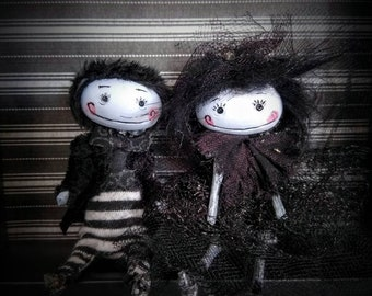 Goth art doll couple dressed as goth bride and groom Bridal gift custom made