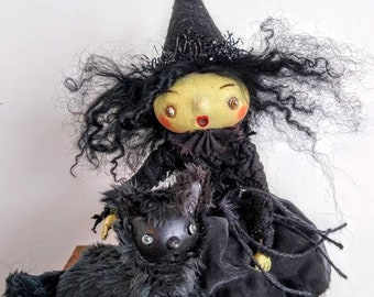 """Miniature art doll """"Adelita Witch"""" posable Bjd  prop anime Halloween figurine handmade with or without posable mini black cat"""