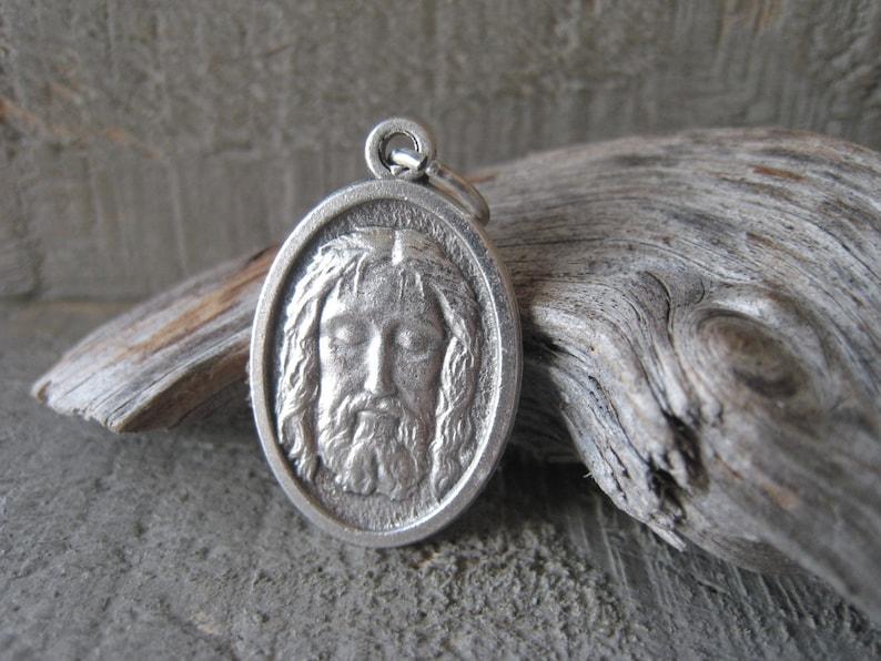 Face Of Christ Silver Medal Bracelet Oxidized Silver Religious Pendant Jesus Charm Item No 0728