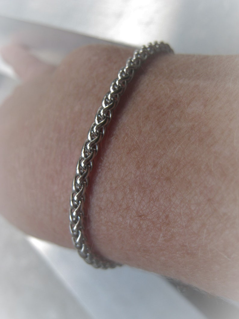 4//5//6mm Wholesale Mens Silver Stainless Steel Wheat Chain Necklace or Bracelet