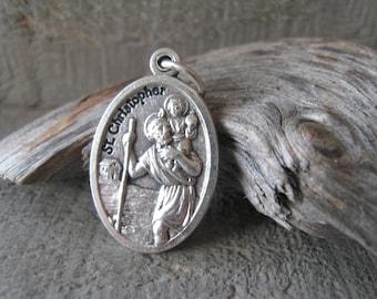 Patron Saint Christopher Guardian Angel Silver Medal Bracelet Oxidized Silver Religious Pendant Charm Item No. 0732-33