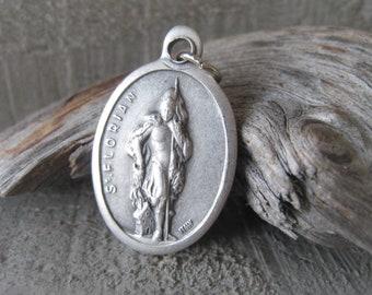 Patron Saint Florian Silver Medal Bracelet Oxidized Silver Religious Pendant Charm Item No. 0716