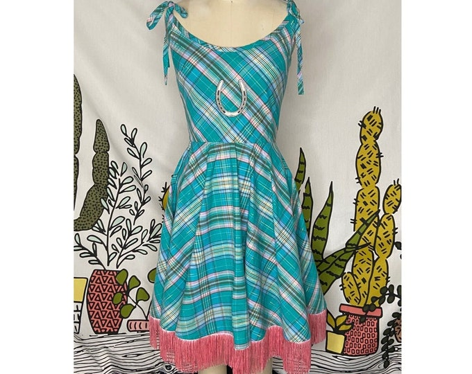 Emmylou Dress in Turquoise Plaid