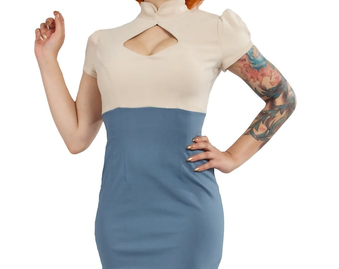 Winnie Dress in Beige and Blue