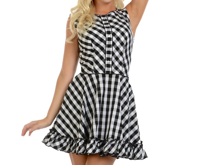 Hattie Dress in Black/White Gingham XS ONLY