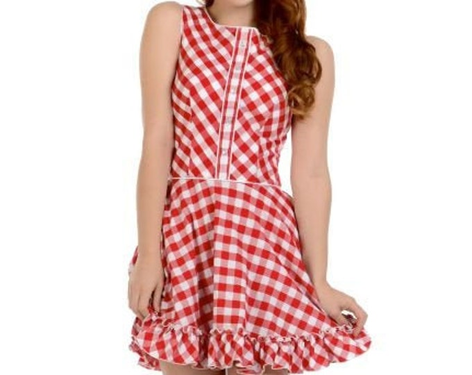 Hattie Dress in Red/White Gingham