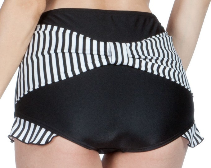 Shirley Bow Back with Ruffles Retro High Waisted Swim Bottom in Black/White Stripes XS and S only!!