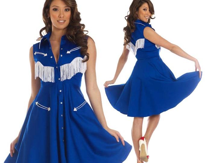 Georgia Western Swing Dress in Blue and White