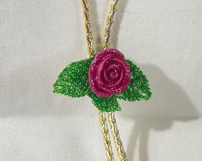 Pink Glitter Rose and Leaves Western Bolo Tie