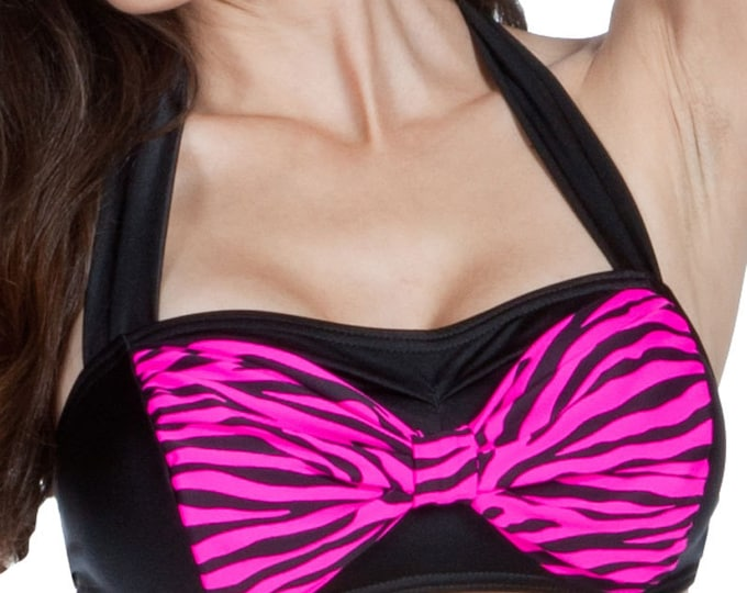 Cyndy Bow Top Pink Zebra Print XS and S only!!