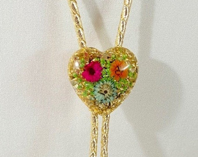 Metallic Gold Heart with Dried Flowers Western Bolo Tie