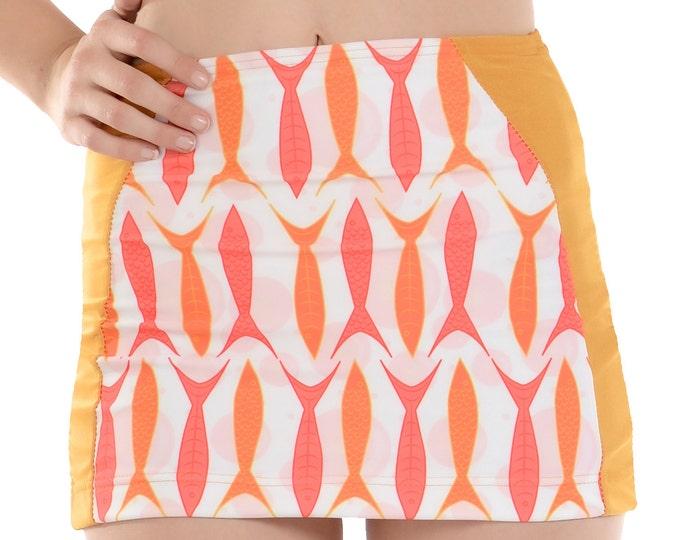 Goldie Swim Skirt in Orange Fish Print