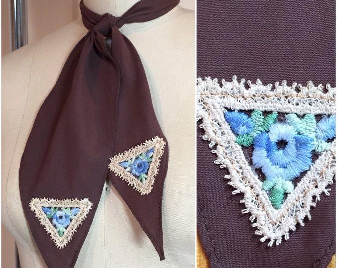 Brown Western Tie Scarf with Antique Appliqués