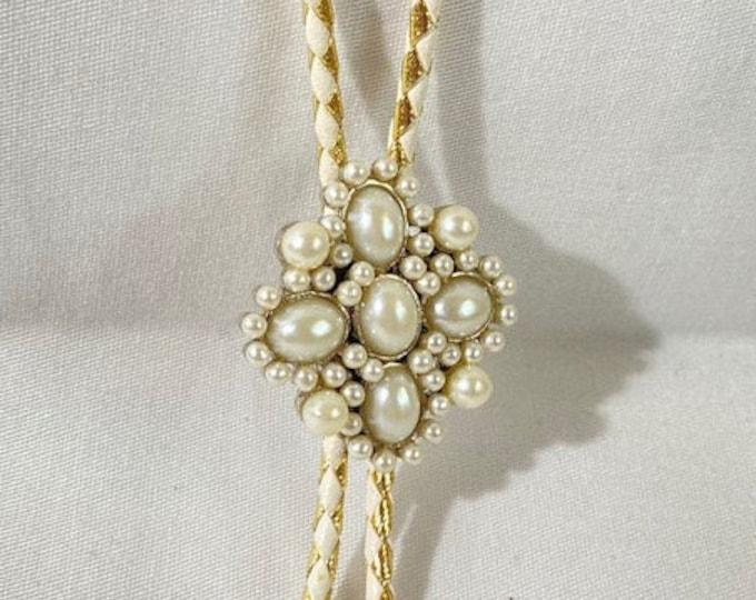 Pearl Brooch Bridal Western Bolo Tie