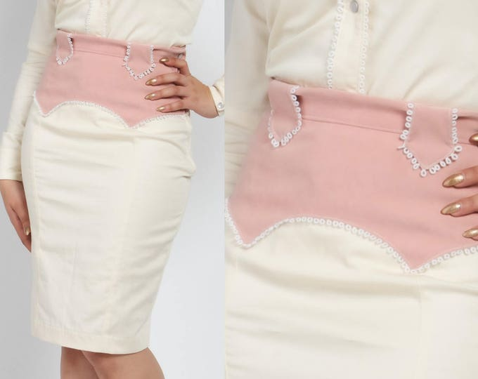 Ivy Western Skirt in Ivory and Pink