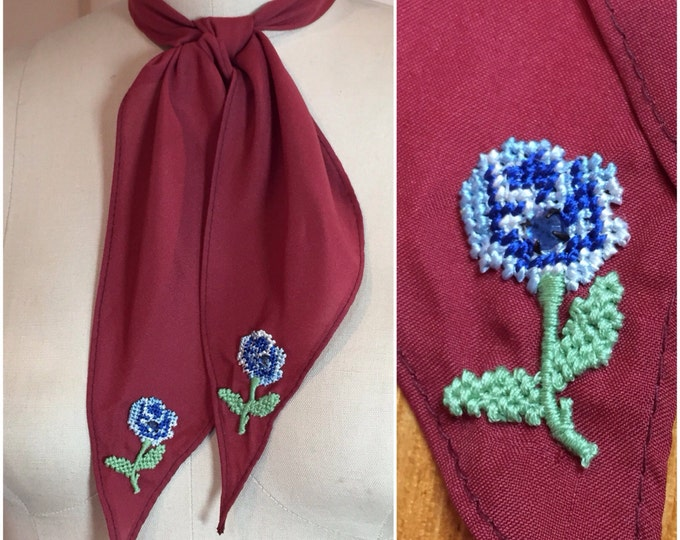 Wine Western Scarf Tie with Vintage Appliques