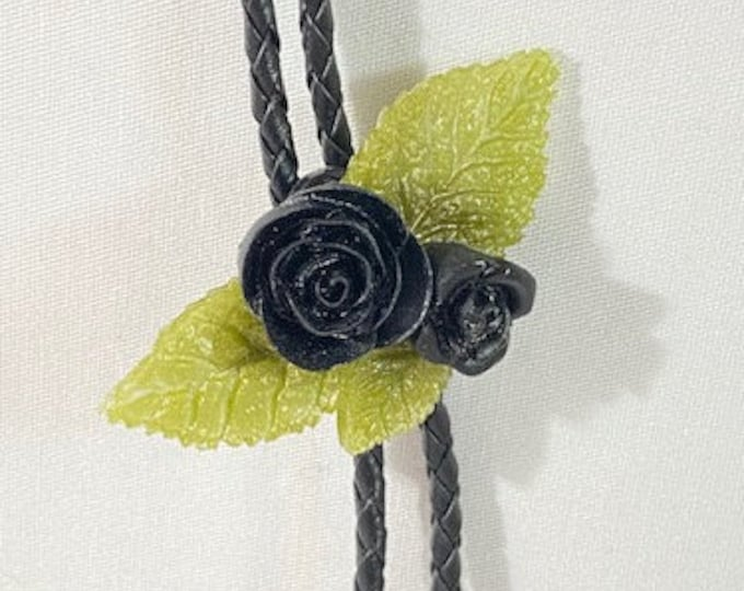 Black Rose and Leaves Western Bolo Tie