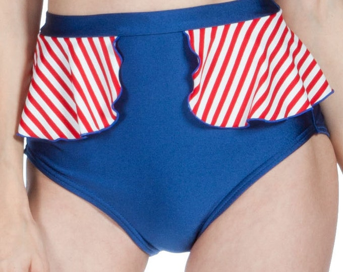 Patsy Peplum Swim Bottom in Navy with Red and White Stripes