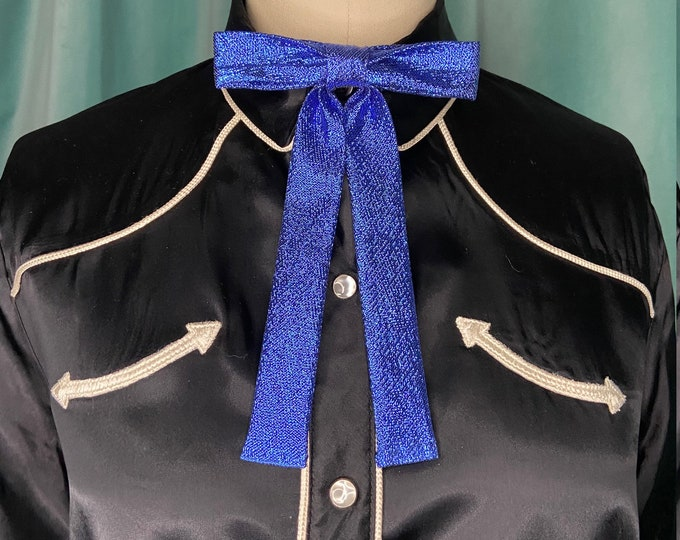 Metallic Royal Blue Lamé Western Clip-On Colonel Tie