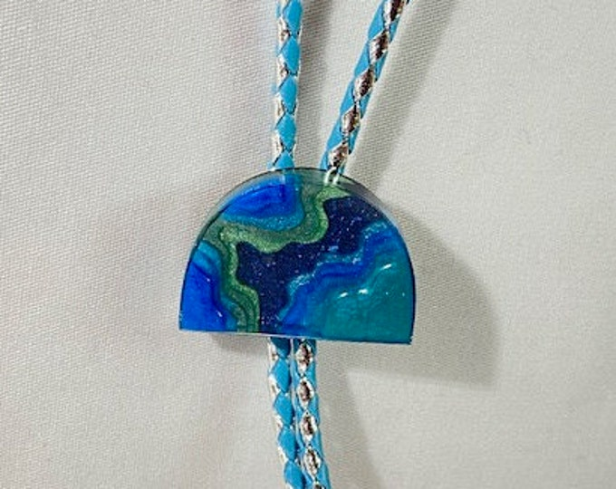 Multicolored Layered Blue Landscape and Leather Western Bolo Tie