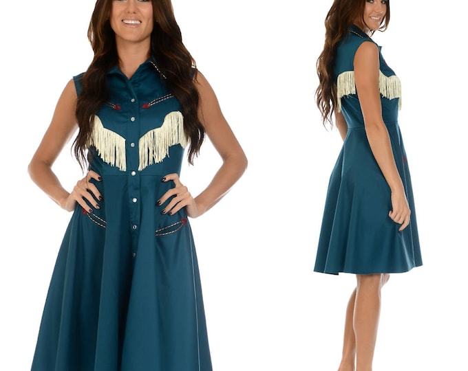 Georgia Western Swing Dress in Jade and Ivory