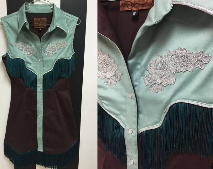XS Riley Western Fringe Dress Brown/Sage Green with Teal Fringe