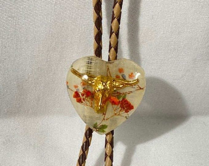 Gold Steer and Floral Heart Western Bolo Tie