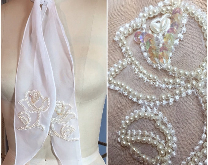 Sheer White Western Bridal Tie Scarf with Pearl & Sequin Applique