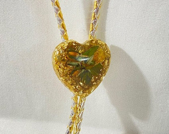 Floral and Gold Glitter Heart Pendant Western Bolo Tie