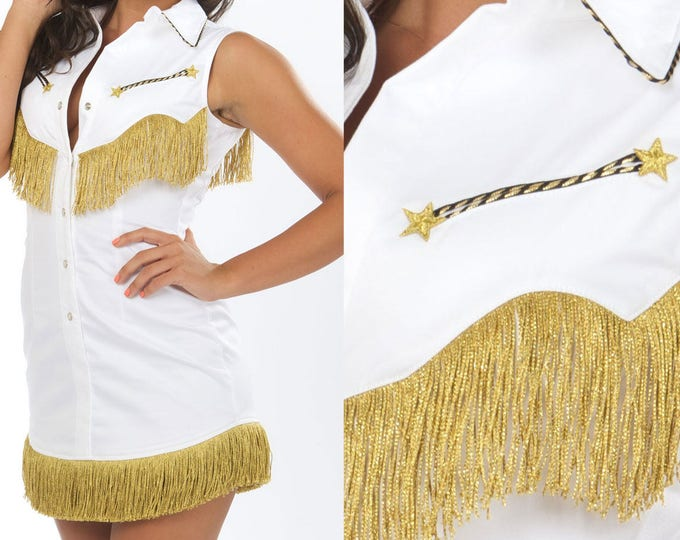 S Riley Western Fringe Dress in White and Gold