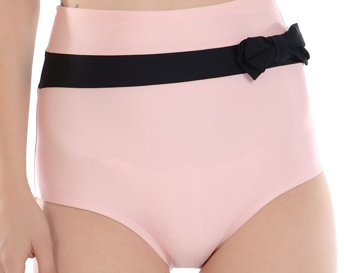 Frannie Super High Waisted Pink and Black Bikini Bottom with Bow XS and S ONLY!!