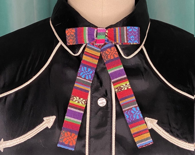 Multicolored Woven Sarape Blanket Western Clip-On Colonel Tie