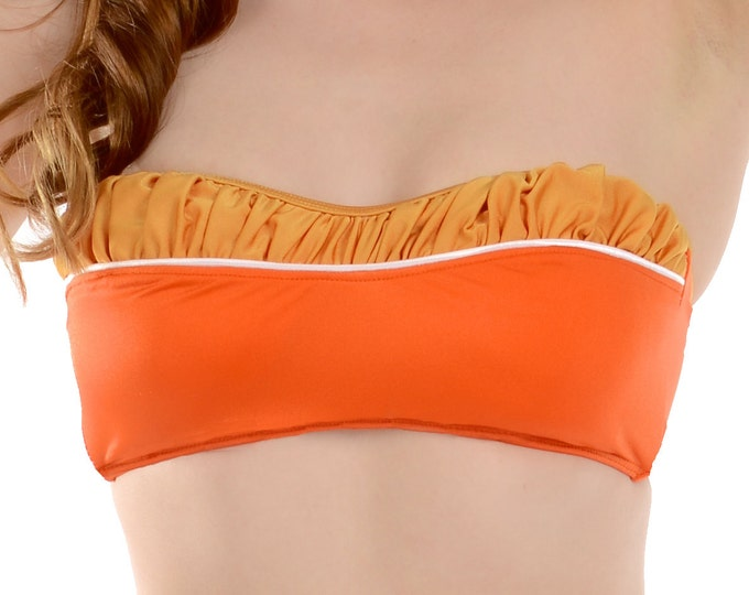 Vanna Removable Halter Bikini Top in Marigold and Orange