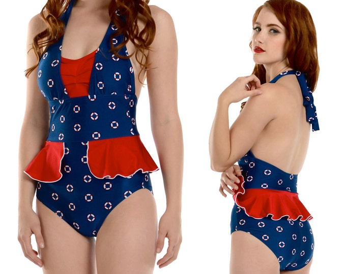Mazie Peplum Halter Swimsuit in Navy Life Ring Print