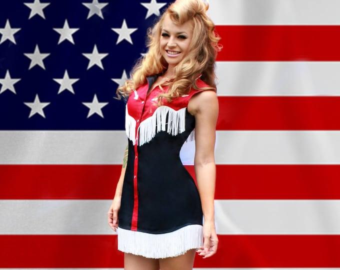 Riley Western Fringe Dress in Navy/Red/White