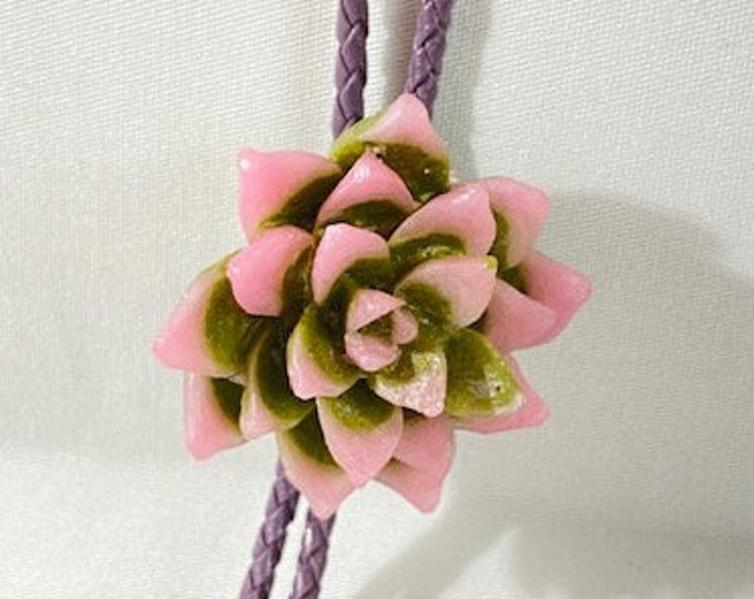 Pink and Olive Green Succulent Western Bolo Tie