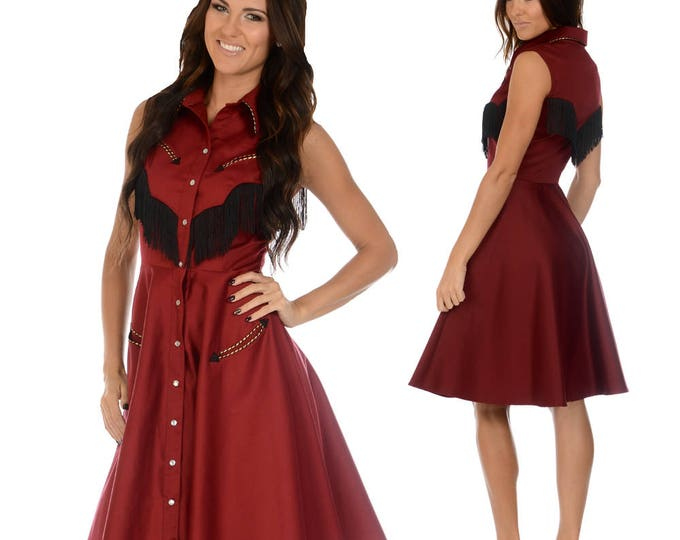 Georgia Western Swing Dress in Burgundy and Black