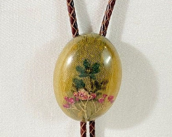 Dried Floral and Antique Fabric Western Bolo Tie