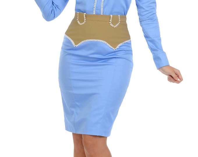 Ivy Western Skirt in Periwinkle Blue and Beige