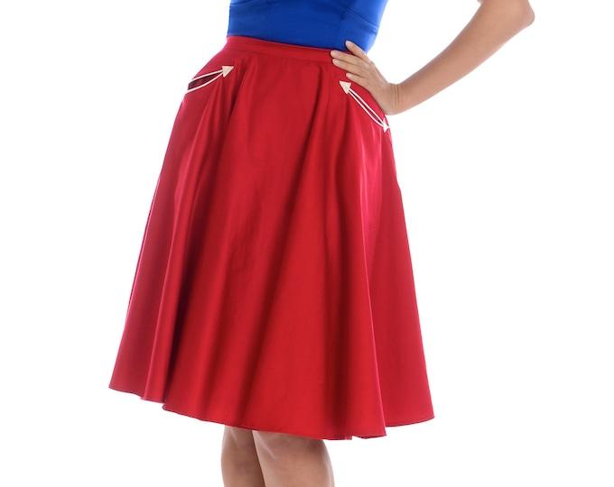 Petunia Western Circle Skirt in Red
