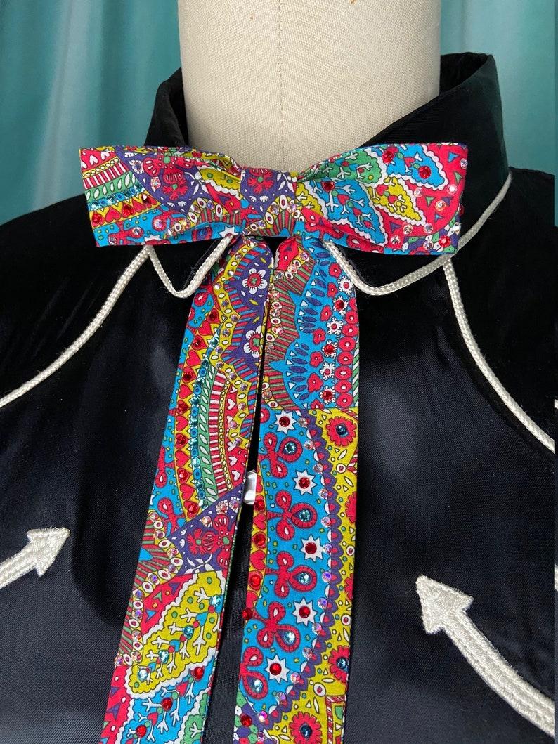 Multicolored Print Rhinestoned Western Clip-On Colonel Tie