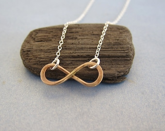 Gold Infinity Charm Pendant Silver Necklace, two tone, customized, made in USA