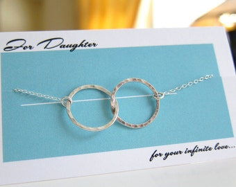 For Daughter Two Circles Love Locked Hammered Sterling Silver Pendant Charm Necklace pure love affection prom party Birthday jewelry on card